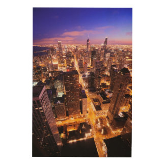 Cityscape at night of Chicago Wood Wall Art