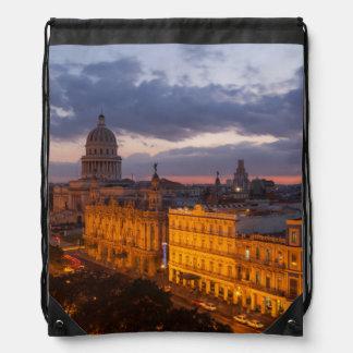 Cityscape at sunset, Havana, Cuba Drawstring Bag