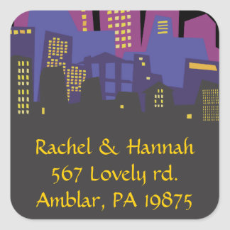 CITYSCAPE Bar Bat Mitzvah Invitation Sticker Seal