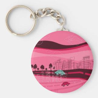 Cityscape Design Basic Round Button Key Ring