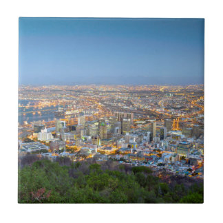 Cityscape From Summit Of Signal Hill At Dusk Tile