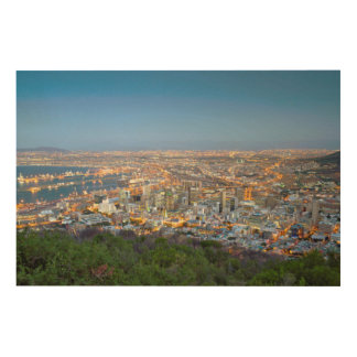 Cityscape From Summit Of Signal Hill At Dusk Wood Wall Decor