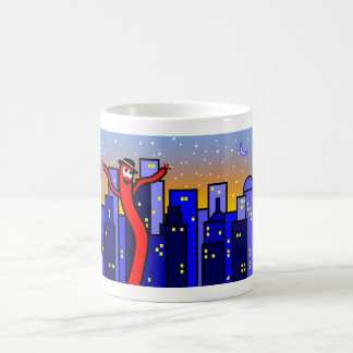 Cityscape Illustration Red Dancing Balloon Man Coffee Mug