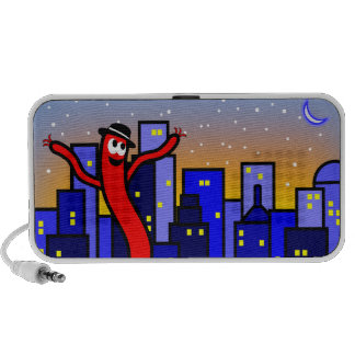 Cityscape Illustration with Dancing Balloon Man Travelling Speaker