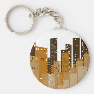 Cityscape Basic Round Button Key Ring