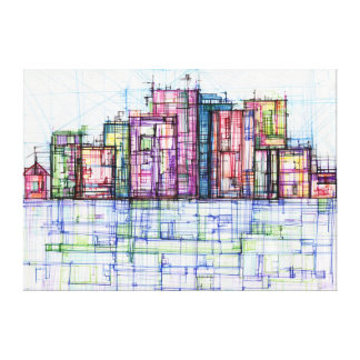 Cityscape Lines Gallery Wrapped Canvas