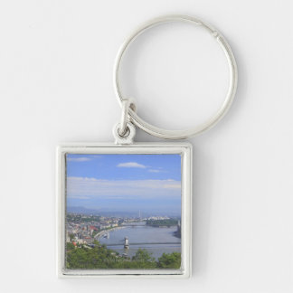 Cityscape of Budapest Silver-Colored Square Key Ring