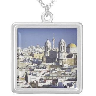 Cityscape of Cadiz, Spain Silver Plated Necklace