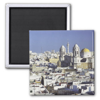 Cityscape of Cadiz, Spain Square Magnet