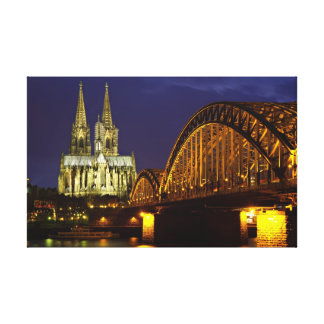 Cityscape of Cologne at night Canvas Print