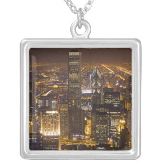 Cityscape of downtown Chicago Silver Plated Necklace