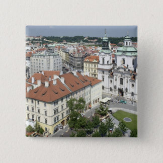 Cityscape of historical Prague, Czech Republic 15 Cm Square Badge