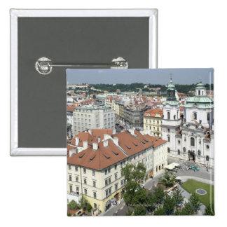 Cityscape of historical Prague, Czech Republic 15 Cm Square Badge