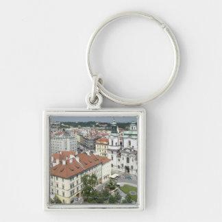 Cityscape of historical Prague, Czech Republic Key Ring