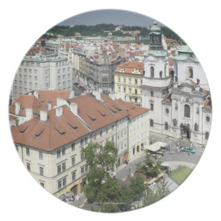 Cityscape of historical Prague, Czech Republic Plate