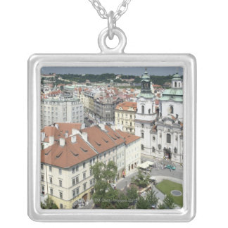 Cityscape of historical Prague, Czech Republic Silver Plated Necklace