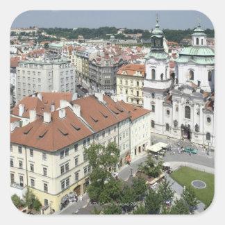 Cityscape of historical Prague, Czech Republic Square Sticker