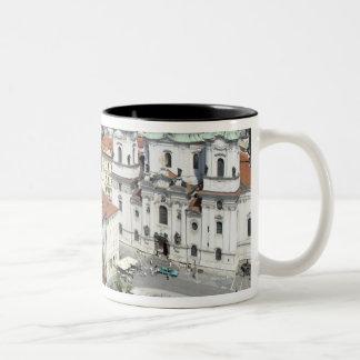 Cityscape of historical Prague, Czech Republic Two-Tone Coffee Mug