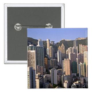 Cityscape of Hong Kong, China 15 Cm Square Badge