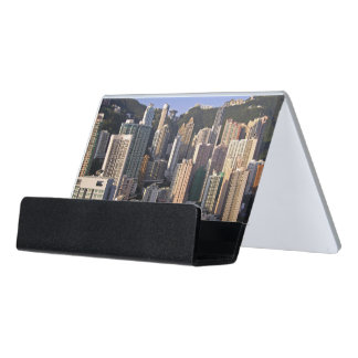 Cityscape of Hong Kong, China Desk Business Card Holder