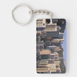 Cityscape of Hong Kong, China Double-Sided Rectangular Acrylic Key Ring