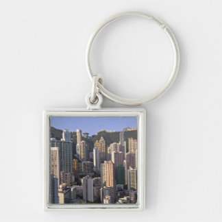 Cityscape of Hong Kong, China Silver-Colored Square Key Ring
