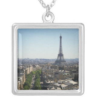 Cityscape of Paris, France Silver Plated Necklace