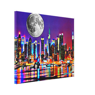 Cityscape Painting Moon Over New York City donnyM Canvas Print