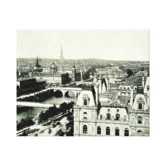 Cityscape Paris Eiffel Tower Seine Rooftops View Gallery Wrap Canvas