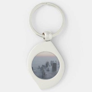 cityscape Silver-Colored swirl key ring