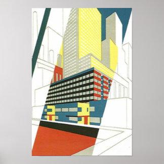 Cityscape Skyscrapers Concrete architecture Poster