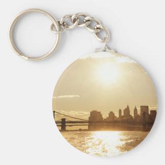 Cityscape Sunset over the New York Skyline Basic Round Button Key Ring
