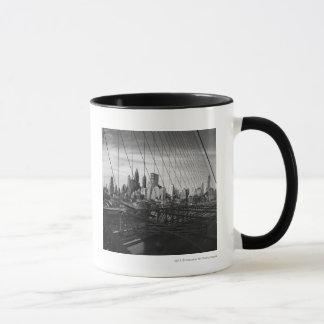 Cityscape through bridge cables mug