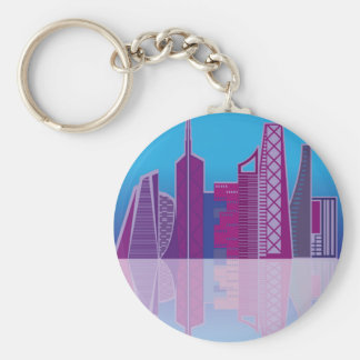 Cityscape vector basic round button key ring
