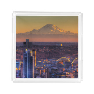 Cityscape view of Seattle downtown, football Acrylic Tray