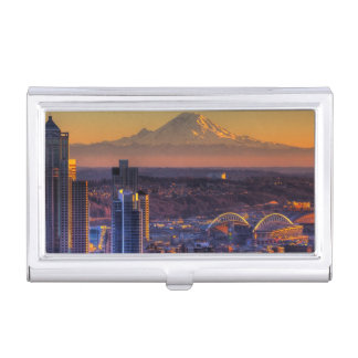 Cityscape view of Seattle downtown, football Business Card Holder