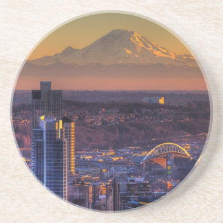 Cityscape view of Seattle downtown, football Coaster