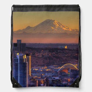 Cityscape view of Seattle downtown, football Drawstring Bag