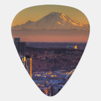 Cityscape view of Seattle downtown, football Guitar Pick