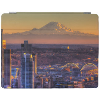 Cityscape view of Seattle downtown, football iPad Cover