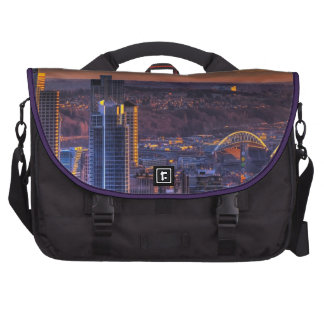 Cityscape view of Seattle downtown, football Computer Bag
