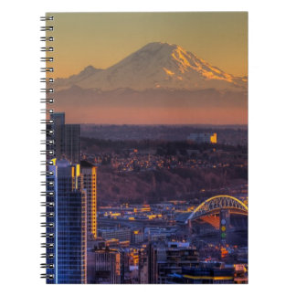 Cityscape view of Seattle downtown, football Notebooks