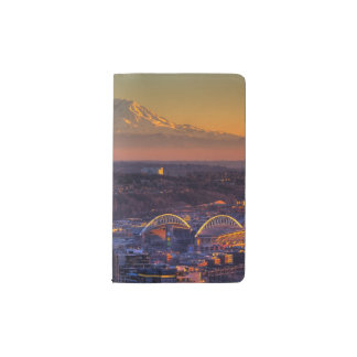 Cityscape view of Seattle downtown, football Pocket Moleskine Notebook