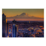 Cityscape view of Seattle downtown, football Poster