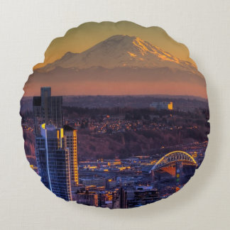 Cityscape view of Seattle downtown, football Round Cushion