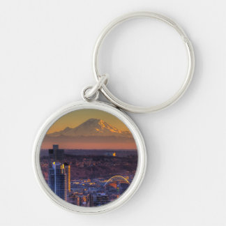 Cityscape view of Seattle downtown, football Silver-Colored Round Key Ring