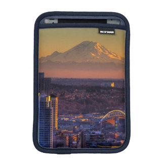 Cityscape view of Seattle downtown, football Sleeve For iPad Mini