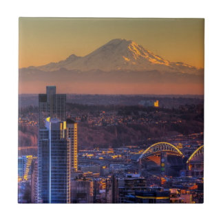 Cityscape view of Seattle downtown, football Small Square Tile