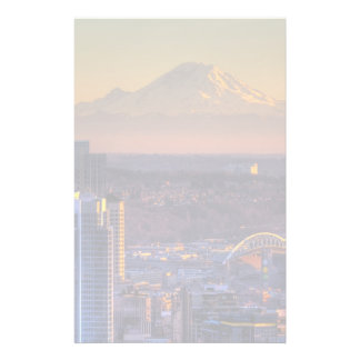 Cityscape view of Seattle downtown, football Stationery