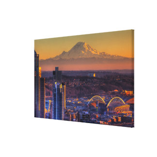 Cityscape view of Seattle downtown, football Stretched Canvas Prints